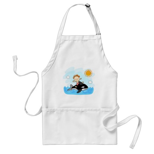 happy little boy swimming at sea cartoon adult apron