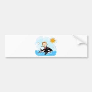 happy little boy swimming at sea cartoon bumper sticker