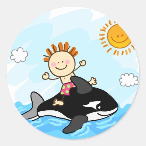 happy little boy swimming at sea cartoon round sticker