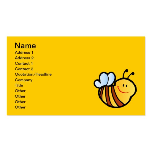 HAPPY LITTLE BUMBLEBEE BEE CARTOON CUTE HONEY INSE Double-Sided STANDARD BUSINESS CARDS (Pack OF 100)