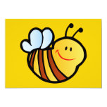 HAPPY LITTLE BUMBLEBEE BEE CARTOON CUTE HONEY INSE 5X7 PAPER INVITATION CARD