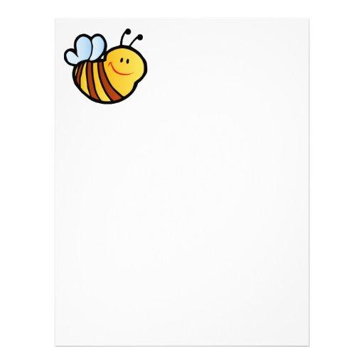 HAPPY LITTLE BUMBLEBEE BEE CARTOON CUTE HONEY INSE LETTERHEAD TEMPLATE