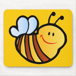 HAPPY LITTLE BUMBLEBEE BEE CARTOON CUTE HONEY INSE MOUSE PAD
