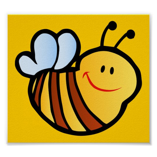 HAPPY LITTLE BUMBLEBEE BEE CARTOON CUTE HONEY INSE POSTER