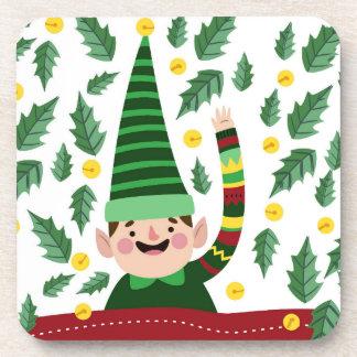 Happy Little Christmas Elf in Green Sweater Coaster