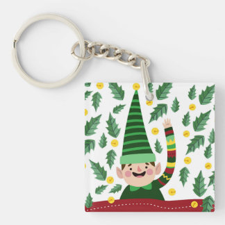 Happy Little Christmas Elf in Green Sweater Keychain