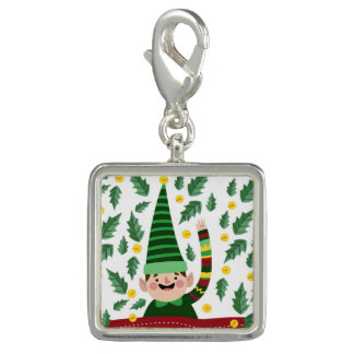 Happy Little Christmas Elf in Green Sweater Photo Charms
