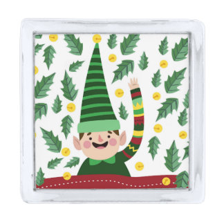 Happy Little Christmas Elf in Green Sweater Silver Finish Lapel Pin