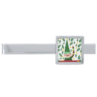 Happy Little Christmas Elf in Green Sweater Silver Finish Tie Clip