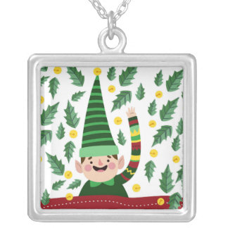 Happy Little Christmas Elf in Green Sweater Silver Plated Necklace