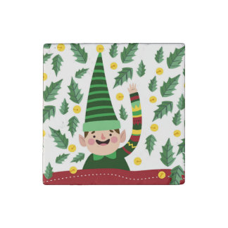 Happy Little Christmas Elf in Green Sweater Stone Magnet