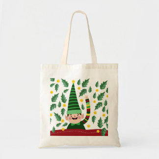 Happy Little Christmas Elf in Green Sweater Tote Bag