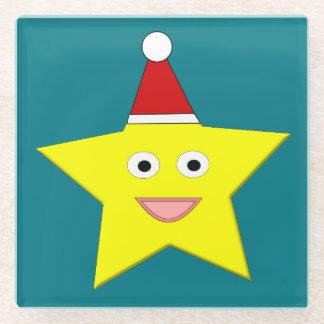Happy Little Christmas Star Glass Coaster