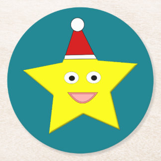 Happy Little Christmas Star Paper Coasters