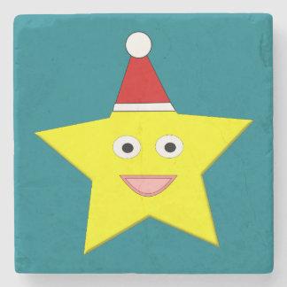Happy Little Christmas Star Stone Coaster