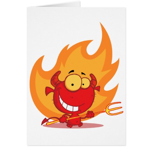 Happy Little Devil With Pitchfork Card