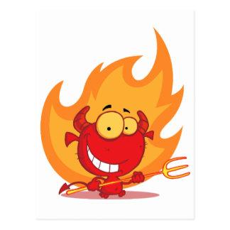 Happy Little Devil With Pitchfork Postcard