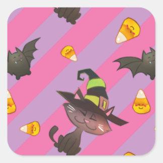 Happy Little Halloween Bat and Cat Square Sticker