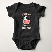 Happy Little Holstein Cow Loves You Hairy Much! Baby Bodysuit