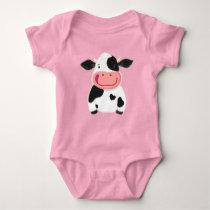 Happy Little Holstein Dairy Cow Baby Bodysuit