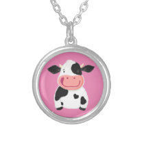 Happy Little Holstein Dairy Cow Silver Plated Necklace