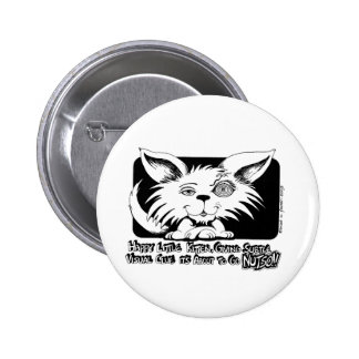 Happy Little Kitten... About to go NUTSO! Pinback Button