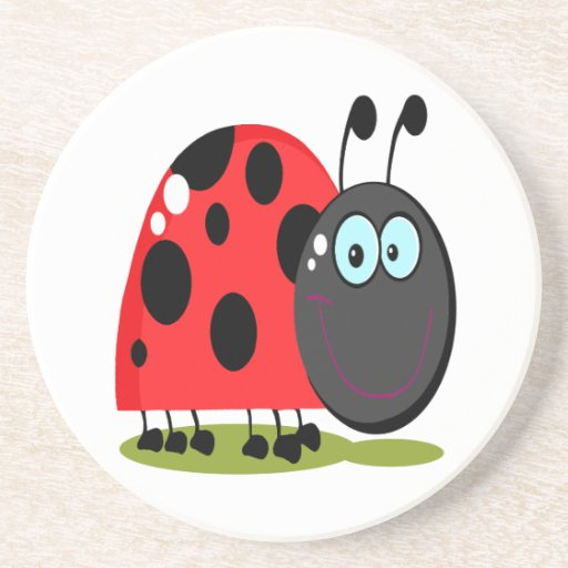 happy little lady bug drink coasters