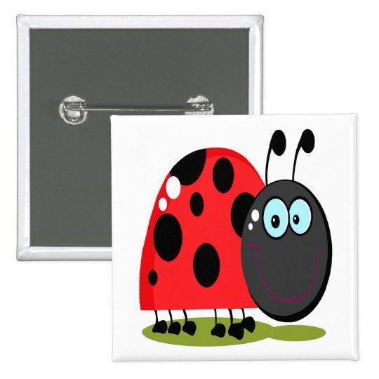 happy little lady bug pinback button