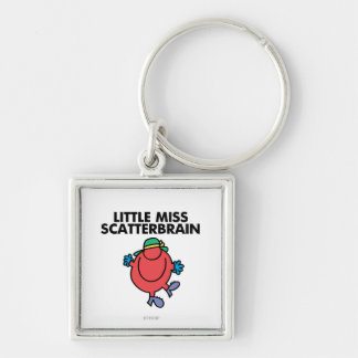 Happy Little Miss Scatterbrain Silver-Colored Square Keychain