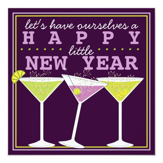 happy little new years eve cocktail party invitation