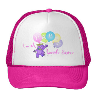 Happy Little Sister Purple Teddy Bear Trucker Hat
