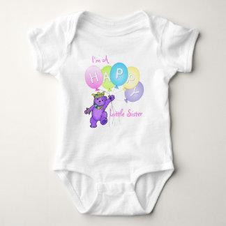 Happy Little Sister Teddy Bear Baby Bodysuit