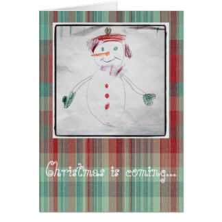 Happy Little Snowman And Christmas Plaid Greeting Card