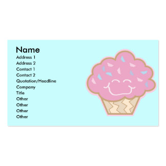 happy little strawberry cupcake, Name, Address ... Business Card Template