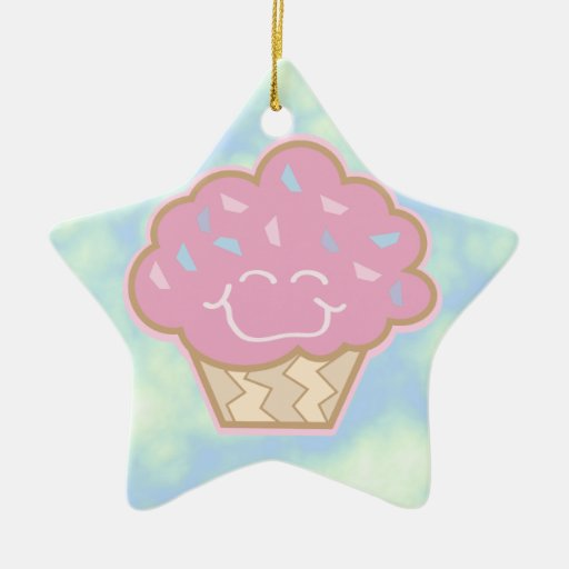 happy little strawberry cupcake Double-Sided star ceramic christmas ornament