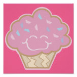 happy little strawberry cupcake poster