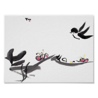 Happy Little Swallow Art Print