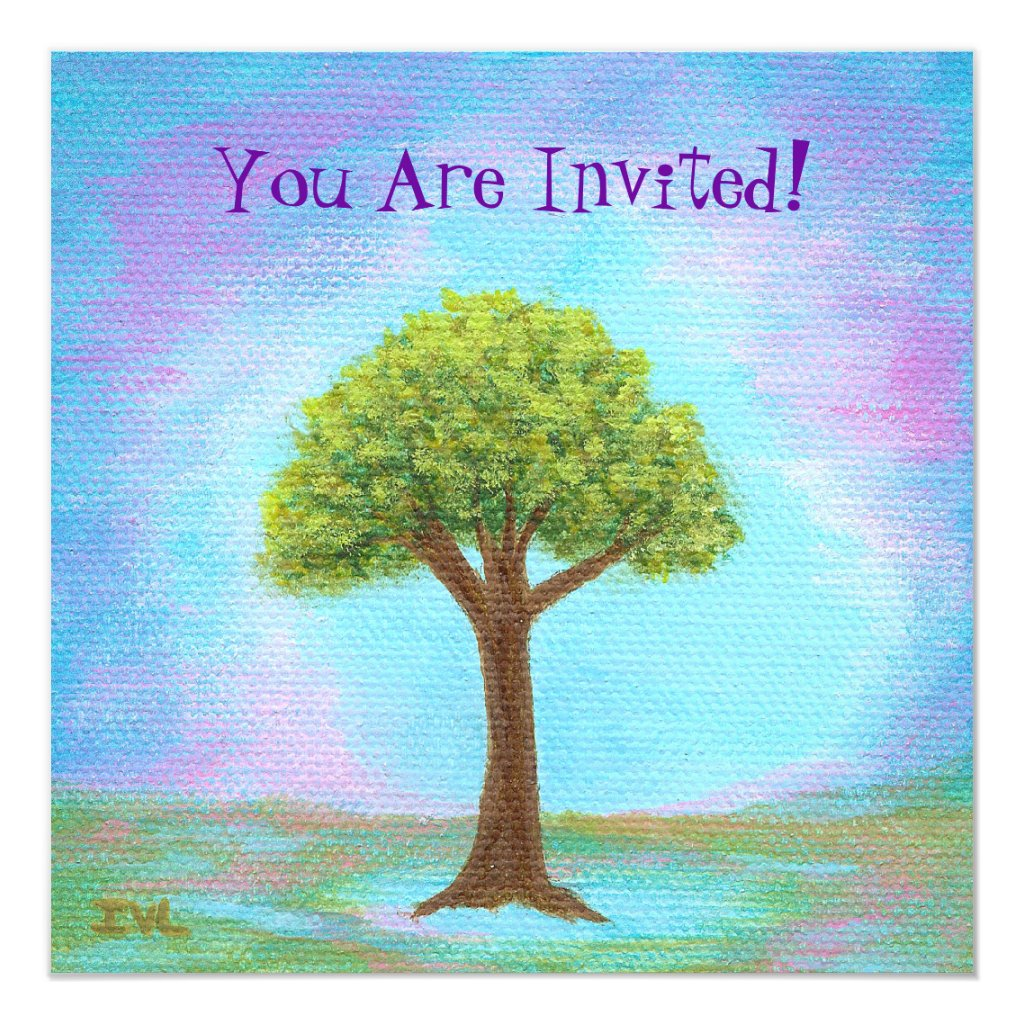 Happy Little Tree Whimsical Landscape Art Blue Card
