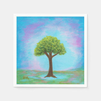 Happy Little Tree Whimsical Landscape Art Blue Paper Napkin