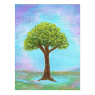 Happy Little Tree Whimsical Landscape Art Blue Postcard