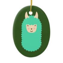 Happy Llama Emoji Ceramic Ornament
