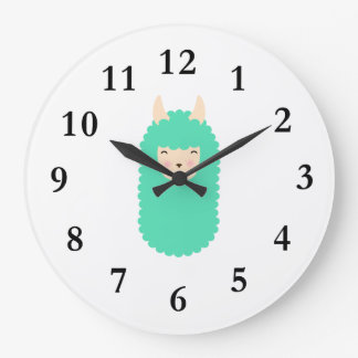 Happy Llama Emoji Wall Clock
