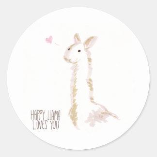 Happy Llama Loves You Classic Round Sticker