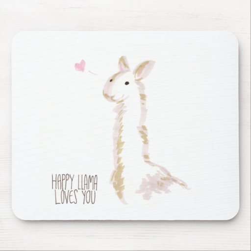 Happy Llama Loves You Mousepad