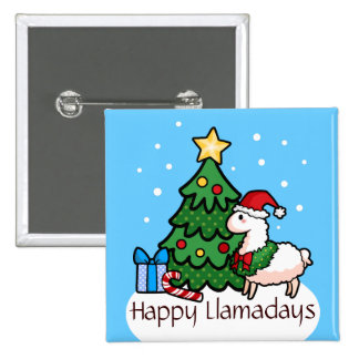 Happy Llamadays 2 Inch Square Button