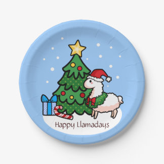 Happy Llamadays 7 Inch Paper Plate
