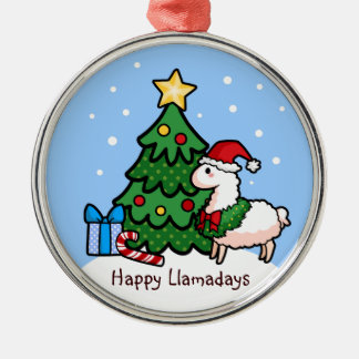 Happy Llamadays Metal Ornament