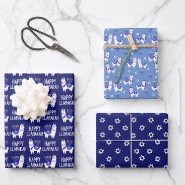 Happy Llamakah Hanukkah Wrapping Paper Sheets
