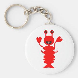 Happy Lobster Basic Round Button Keychain