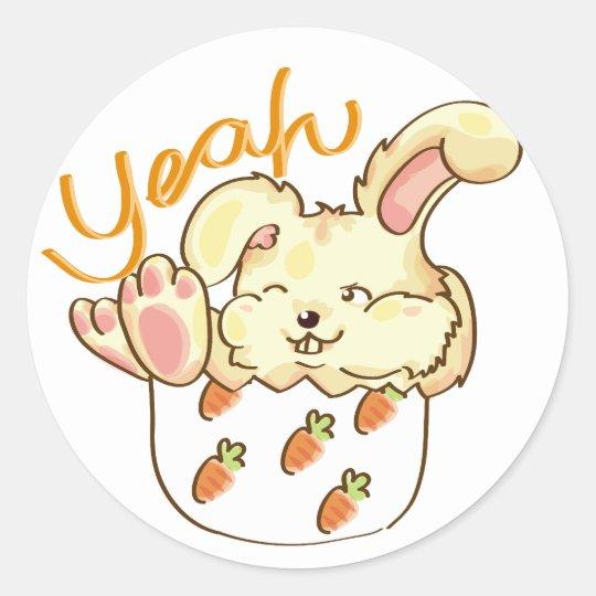 Happy Lounging Rabbit Classic Round Sticker